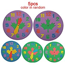 5 Pcs Baby Kids Educational Toys Clock Watch Number Letter Jigsaw Puzzle EVA Foam Pad Kids Disassembly Toy Game Various Color Random