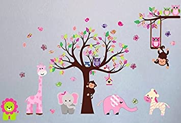 Nursery XXL Wall Decal, Nursery Giraffe, Elephant, Monkey, Owl Wall Decal,