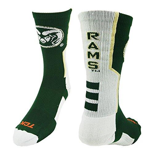 CSU Perimeter Crew Socks (Dark Green/White/Vegas Gold, Small)