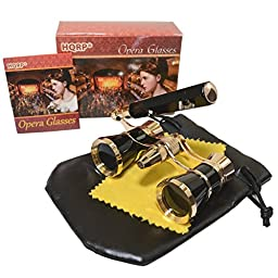 HQRP 3 x 25 Opera Glasses in Elegant Black Color w/ Built-In Elegant Black Extendable Handle with Gold Trim in HQRP Gift Box