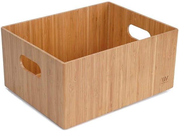 Caja de almacenamiento de bambú, 35,5 x 28 x 16,5 cm, papelera duradera con