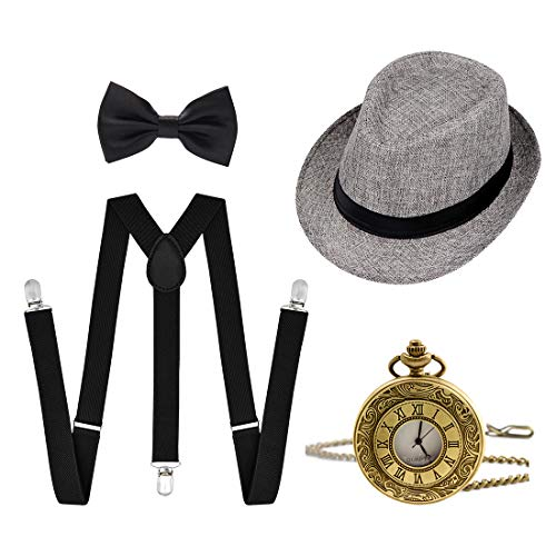Ziyoot 1920s Accessories Men's Gatsby Gangster Costume Men Roaring 1920s Set Panama Y-Back Suspenders Bow Tie Gray -