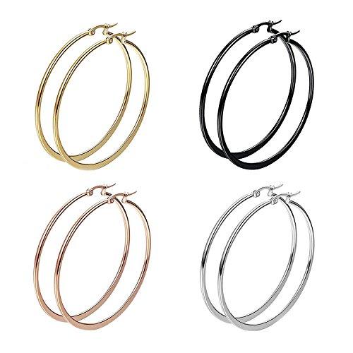 City Pierce Earrings Steel Flat Large Hoop Women Girls Huggie 50MM Jewelry 4 Pairs