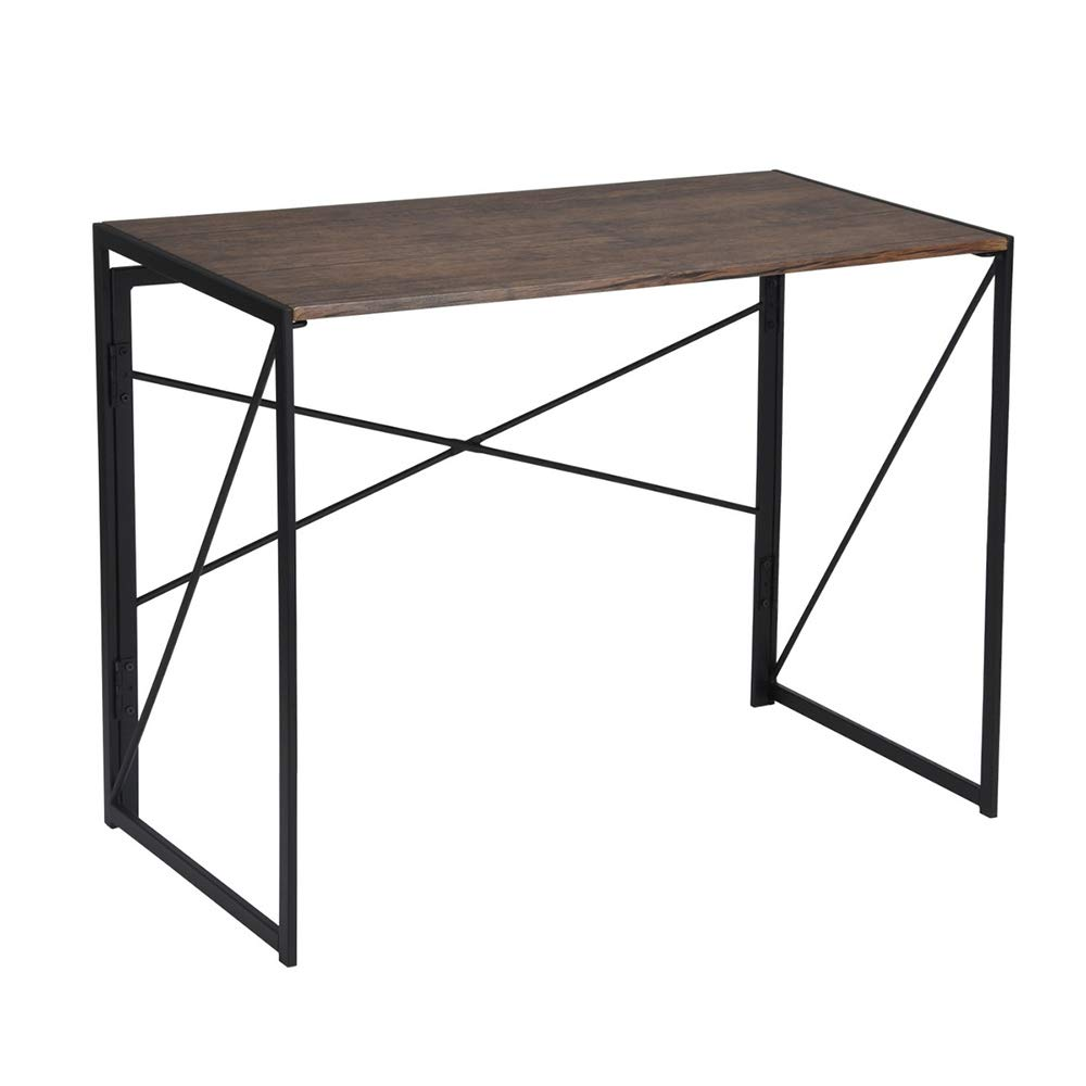 HOMYCASA Mesa 100/x 50/x 75/cm Plegable Design Chic Industrial MDF Metal Nogal Negro