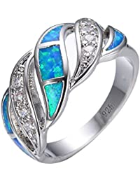 925 Sterling Silver Wave Hollow Ring,Women and Man Wedding Engagement Promise Rings,Blue Cz rings to Show You Unlimited Beauty and Self confidence