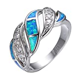 Junxin 925 Sterling Silver Wave Hollow Ring,Women and Man Wedding Engagement Promise Rings,Blue Cz rings to Show You Unlimited Beauty and Self confidence