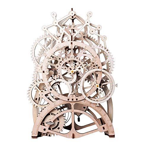 Robotime DIY Gear Drive Pendulum Clock by Clockwork 3D Wooden Model Building Kits Toys Hobbies Gift for Children Adult LK501 from Robotime