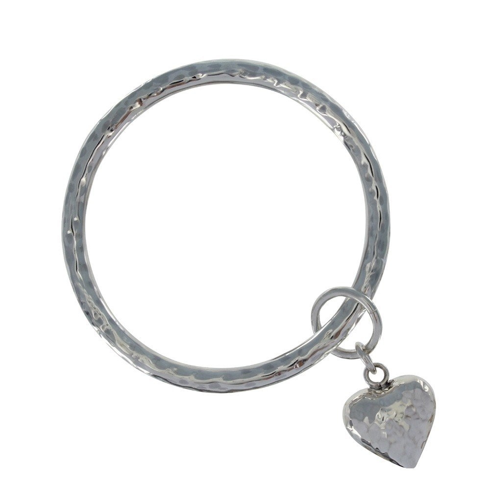 Les Poulettes Jewels - Sterling Silver Bracelet with Hammered Heart