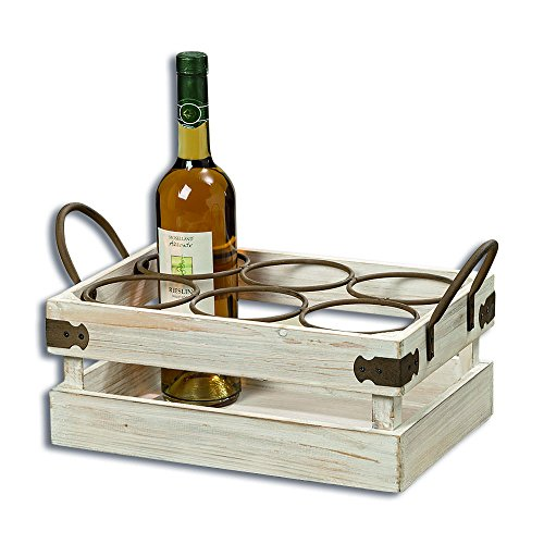 The Farmer's Market Bottle Holder, Wine Caddy, Florals, Vintage Milk Crate Style, White Stain, Distressed Weathered Finish Sustainable Wood, Rust Iron Hardware, 1Ft- 4 ½ In, by Whole House Worlds