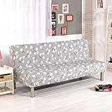 Folding Armless Polyester Floral Pattern Sofa Futon Cover Modern Simple Home Folding Furniture Protector Couch Slipcovers (Elegant)