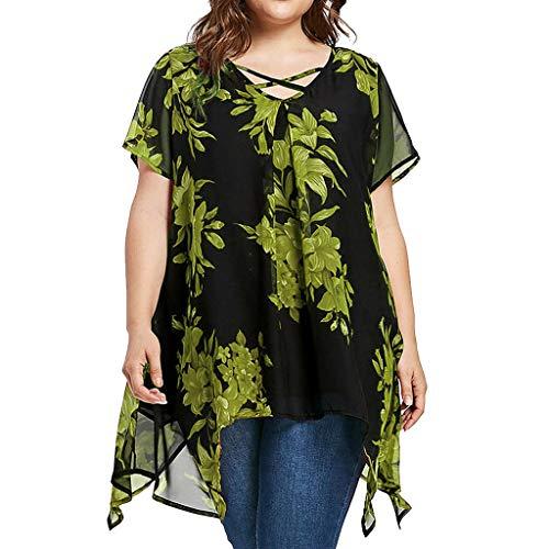 Women Plus Size Criss Cross Double Chiffon Print Short Sleeve Shirt Tops Blouse