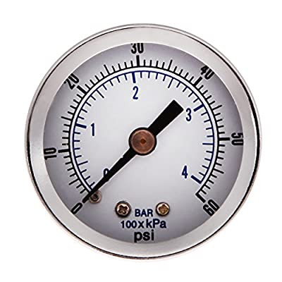 "Vktech® 1/8"" NPT Air Compressor Hydraulic Pressure Gauge 0-60 PSI Back Mount 1.5"" Face"