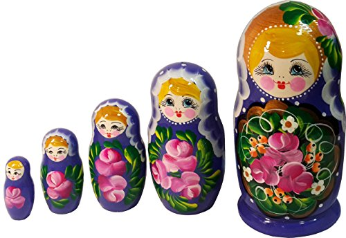 [5 pc Set of Stacking Dolls - Russian Matryoshka - Babushka with Lace Shawl, Handmade Wooden Nested Doll - 6