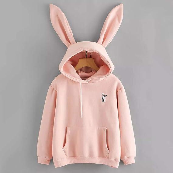Amazon.com: Annhoo Women Sweatshirt,Womens Long Sleeve Rabbit Hoodie Sweatshirt Pullover Tops Blouse(M,Pink): Home Audio & Theater