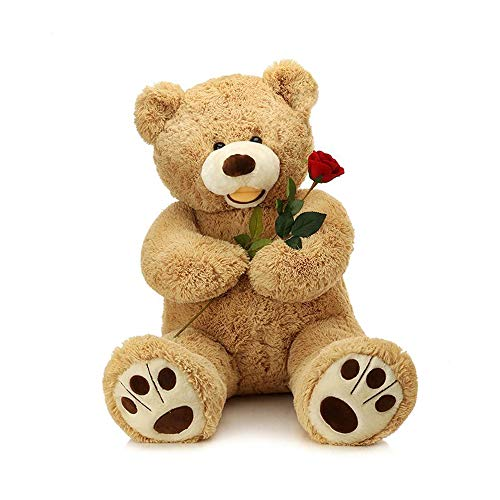 (LApapaye 50 inch Giant Teddy Bears Stuffed Animal Plush Toy with Footprints Big Toys,Light Brown)