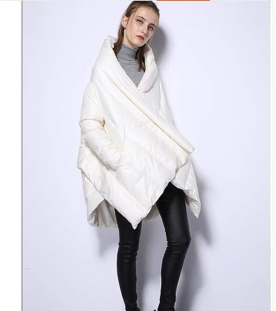 Bas mi-Longueur Veste, épais lâche, légère, Châle Veste vers Le Bas, de Grande Taille Femme Doudoune White