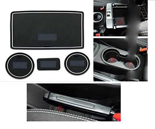 Moonet Heavy Duty Non-slip Interior door Cup Holder Mats Mat For Jeep Wrangler JK AT 2011-2016 Automatic Transmission 4pcs white With LOGO