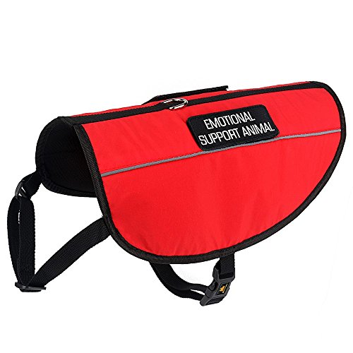 PLUTUS PET Emotional Support Dog Vest with Reflective Straps,Bright Red Fabric&Mesh Harness with 2 Free Removable Embroidery Emotional Support Animal Patches,XS,Girth 14-18