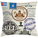 Lunarable Havana Throw Pillow Cushion Cover, Travel Concept Passport Stamp Design of Cuban Cities and Landmarks, Decorative Square Accent Pillow Case, 18 X 18 inches, Cobalt Blue Grey and Dimgrey