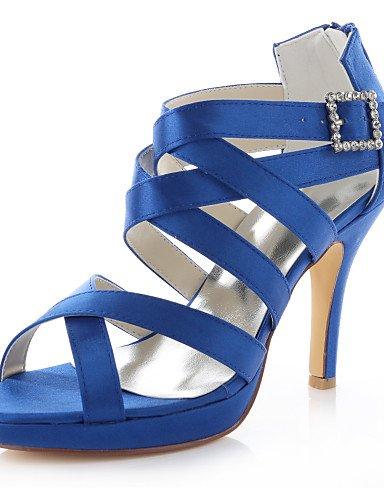 GGX/ Damen-Sandalen-Hochzeit / Kleid / Party & Festivität-Stretch - Satin-Stöckelabsatz-Absätze / Plateau-Schwarz / Blau / Lila / Rot 4in-4 3/4in-blue