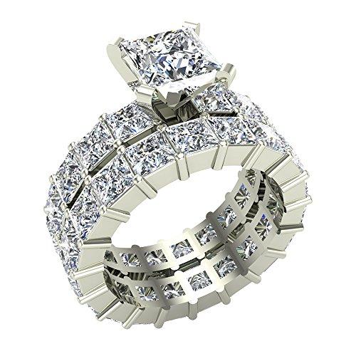 Princess Cut Diamond Eternity Ring - Princess Cut Eternity Diamond Shank & Eternity Wedding Band Ring 7.38 Carat Total Weight 14K White Gold Center ¾ Carat (Ring Size 5)