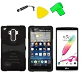 Heavy Duty Hybrid w Kickstand Phone Cover Case Cell Phone Accessory + LCD Screen Protector Guard + Extreme Band + Stylus Pen + Yellow Pry Tool For LG G Stylo LS770 / LG G4 Stylus H631 / LG G Stylo MS631 (S-Hybrid Black Black) -  ExtremeCases