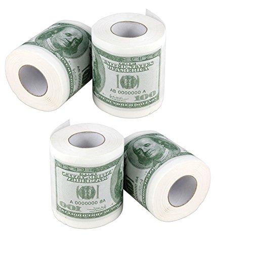 (Forum Novelties Money Toilet Paper Rolls Bathroom Tissue Novelty 100 Dollar Bills - Pack of 4)