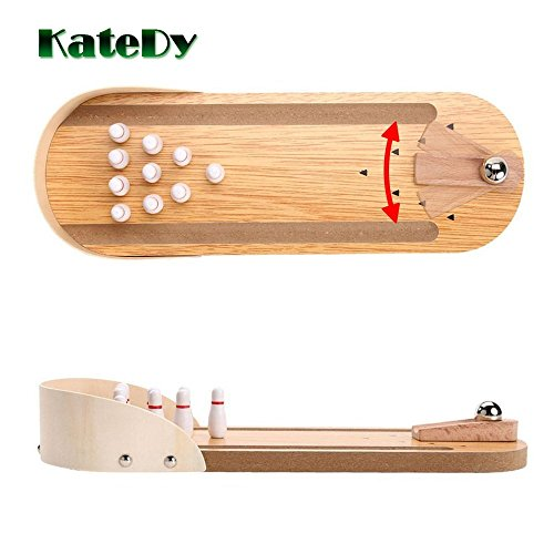 Best Family Party Desktop Toys for Kids Adults Wood Finger Hand Stress Relief and Kill Time Toys Home Office Decor Board Games Desk Tabletop Toy Indoor Wooden Mini Bowling Game Set