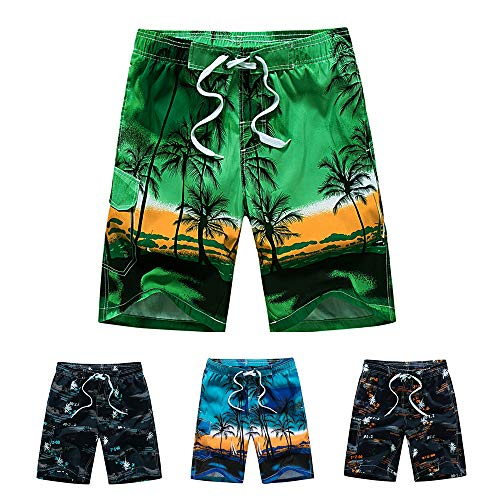 Lined Hawaiian Trunks Swim (MOHEEN Men's Casual Printed Beach Board Shorts Hawaiian Quick Dry Swim Trunks with Mesh Lining(Green,S))