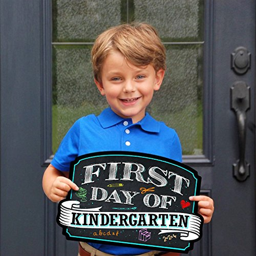 BigTime Signs First Day of School Sign | Chalkboard Style | Kindergarten Plaque | Back to School Sign | Use as Photo Prop for a Boy or Girl | 10 inches x 15.5 inches (Kindergarten) by BigTime Signs