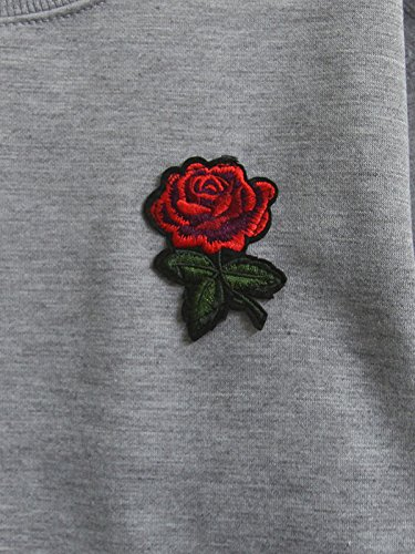Brighty-U Stylish New Winter Rose Embroidery Hoodies Women Harajuku Crop Top Hoodie Gray Fleece Sweatshirt Women Casual Loose Sudadera Mujer at Amazon ...