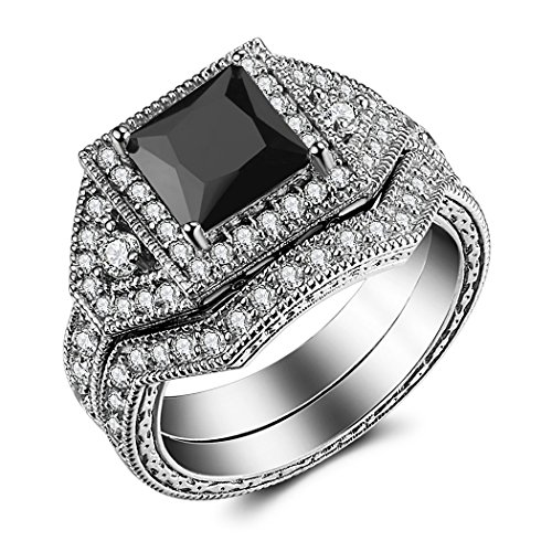 Caperci Sterling Silver Princess Black Cubic Zirconia Wedding Band Engagement Ring Bridal Sets for Women Size 6