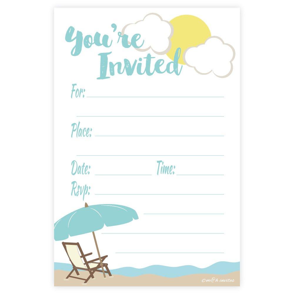 Amazon.com: Beach Theme Fill In Invitations - Any Occassion ...