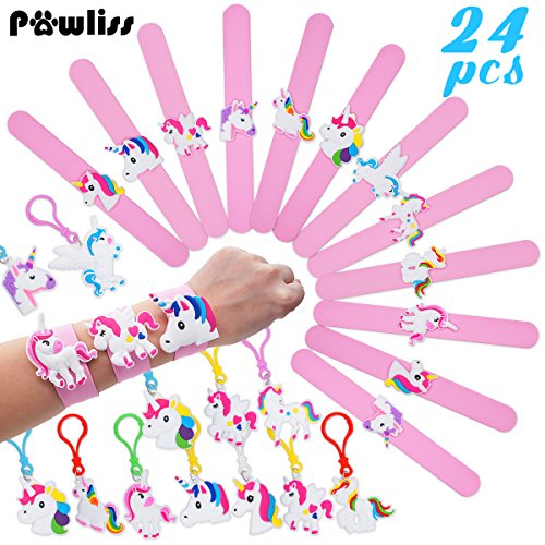Pawliss 24 Pack Unicorn Slap Bracelets Wristband Backpack Clips, Emoji Birthday Party Favors Supplies for Kids Girls, Rubber Band Keychains Classroom Toys Prizes -