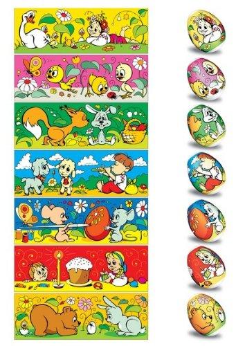 ukrainisches-kunsthandwerk Pellicola per Uova di Pasqua. Motivo per Bambini. n. 2, 20,21,15,22 per 35 Uova