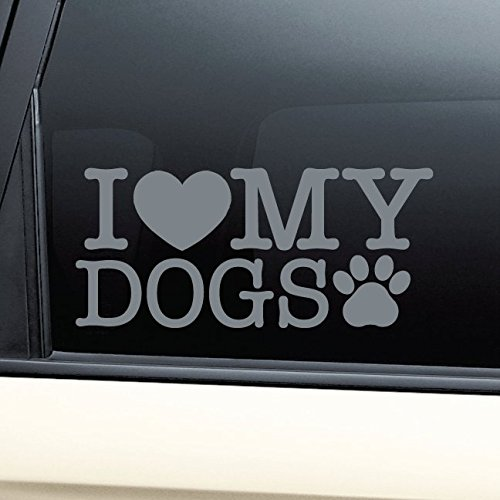 I Love My Dogs Vinyl Decal Laptop Car Truck Bumper Window Sticker - Charcoal (I Love My Giant Schnauzer)