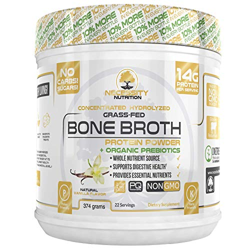 Bone Broth Vanilla Protein Powder – Natural & Pure Paleo/Keto Friendly Gluten Free – Grass Fed Pasture Raised Non GMO – Premium Gut Health