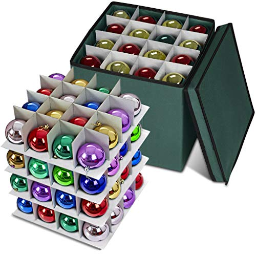 Propik Holiday Ornament Storage Box Chest, 4 Tier Holds Up to 64 Ornaments Balls, with Dividers Made with Durable 600D Oxford Polyester Material (Green)