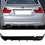 Rear Bumper Lip Fits 2005-2012 BMW E90 3-Series | AS-S Style Black PU Rear Lip Finisher Under Chin Spoiler Underspoiler Splitter Valance Underbody Bumper Fascia Add On by IKON MOTORSPORTS | 2006 2007