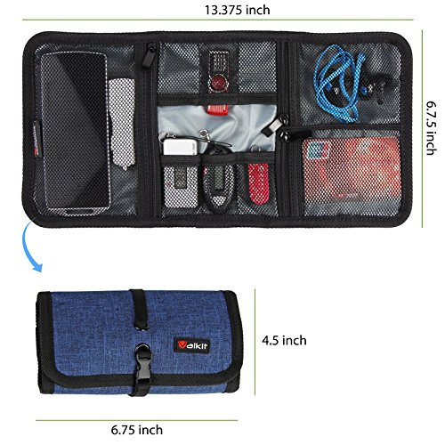 Cable Organizer, Travel Organizer,Valkit Best Electronics Accessories Wire Cord Cables Tires Wrap Case Cover Bags Rolling Organizer Can Fit Cosmetic For Weekender Travel Management,Small Size(Blue)