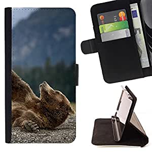 Momo Phone Case / Flip Funda de Cuero Case Cover - Divertido oso grizzly;;;;;;;; - Samsung Galaxy Note 4 IV