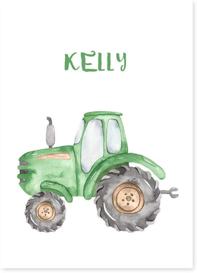 N / A Personalized Name Tractor Boy Canvas Painting Poster For Home Bedroom Decorations Frameless 60x80 cm