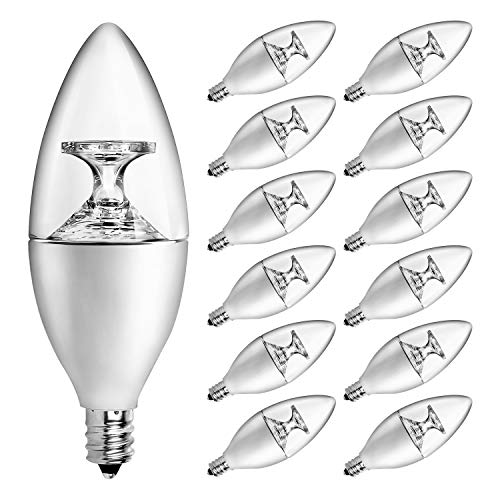 HENLIX E12 Candelabra LED Bulbs, 40 Watt Equivalent, 3000K Warm White B11 LED Candelabra Base, Non-Dimmable, Clear, Pack of 12