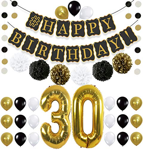 Black 30th Birthday Decorations Party KIT - Black Gold and White Paper Pompoms| Latex Balloons | Gold Number 30 Ballon | Circle Garland | 30th Birthday Balloons | 30 Years Old Birthday Party Supplies -