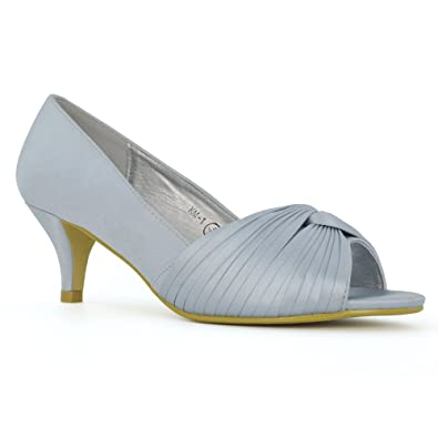 a03c9d754b62 ESSEX GLAM Women s Bridal Low Kitten Heel Silver Satin Peep Toe Bridal  Shoes 5 B(