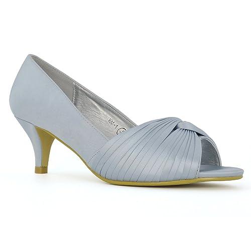 b320eb47e87 ESSEX GLAM Womens Peep Toe Pumps Bridal Low Heel Satin Bridal Shoes