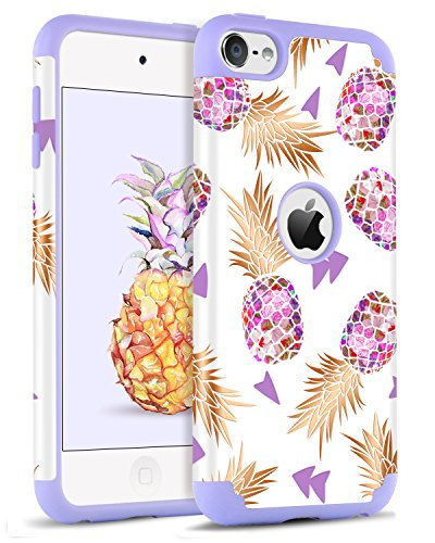 BENTOBEN iPod Touch 5 Case,iPod Touch 6 Case, Hybrid Solid PC Back Cover Soft Silicone Bumper Pineapple Pattern Shockproof Heavy Duty Protective Case for iPod Touch 5th/6th Generation,White/Purple