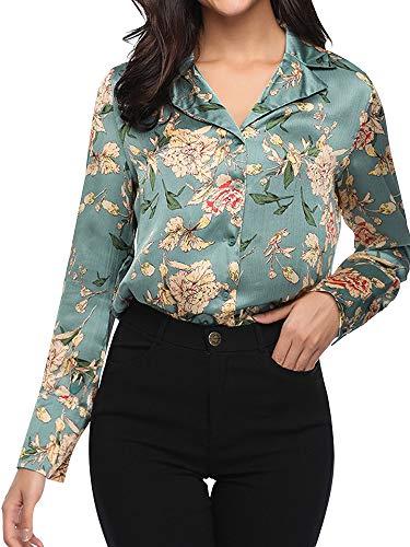 (AUSZOSLT Womens V Neck Ruffled Shoulder Solid Chiffon Blouse Sage Green)