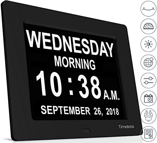INNOCLOCK - Most Advanced - Superior Quality - Calendar Day Digital Clock - Large, Clear, Unabbreviated Time and Date - Ideal for Memory Loss, Impaired Vision and Seniors (Black, - Day Ideas Date