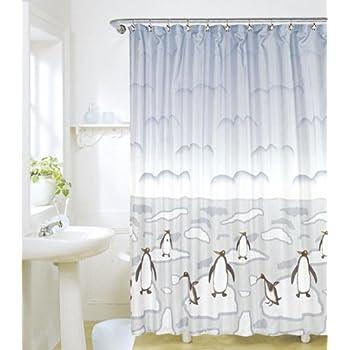 Elegant Penguin Shower Curtain Set Theme Bathroom